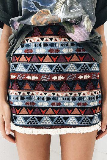 Boho Random Geometric Print Tassel Hem A-line Skirts - US$19.95 -YOINS