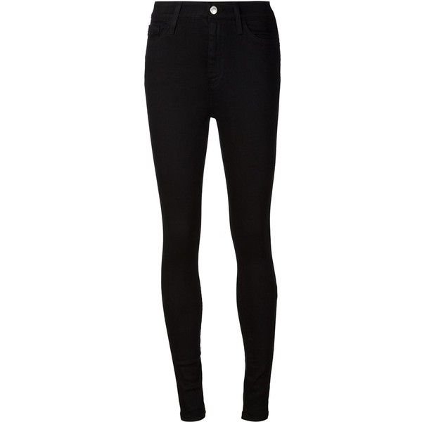 Alexa Chung For Ag Jeans 'Hynes' high waisted skinny jeans ($280) ❤ liked on Polyvore featuring jeans, pants, calças, pantalones, bottoms, black, black skinny jeans, black high rise jeans, highwaisted jeans and high-waisted jeans