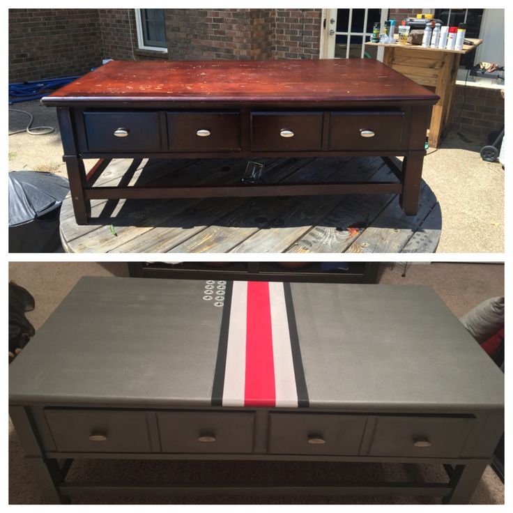 Before and after... Ohio State man cave coffee table. Found table for $15! Refurbished and renewed ready for football season.