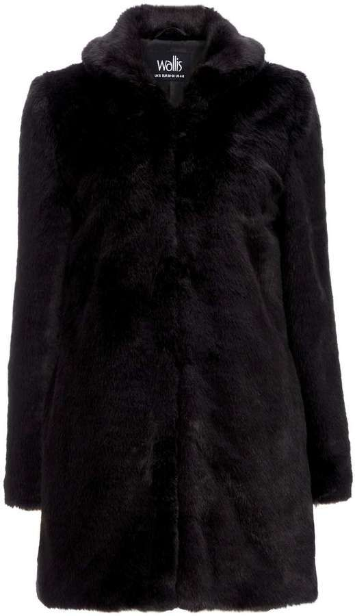 Black Faux Fur Midi Coat