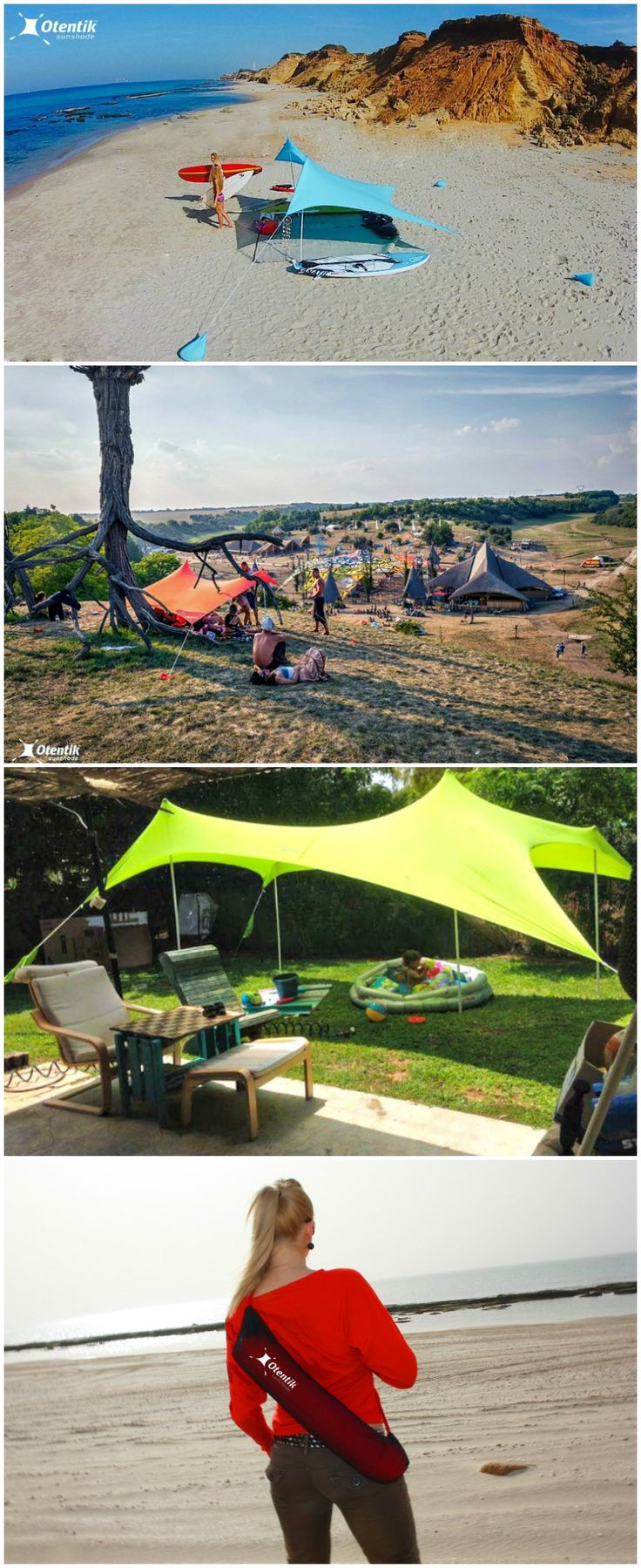 The wind and sand resistant Otentik Sunshade is the easy and convenient to set up beach tent that uses sandbags instead of stakes.