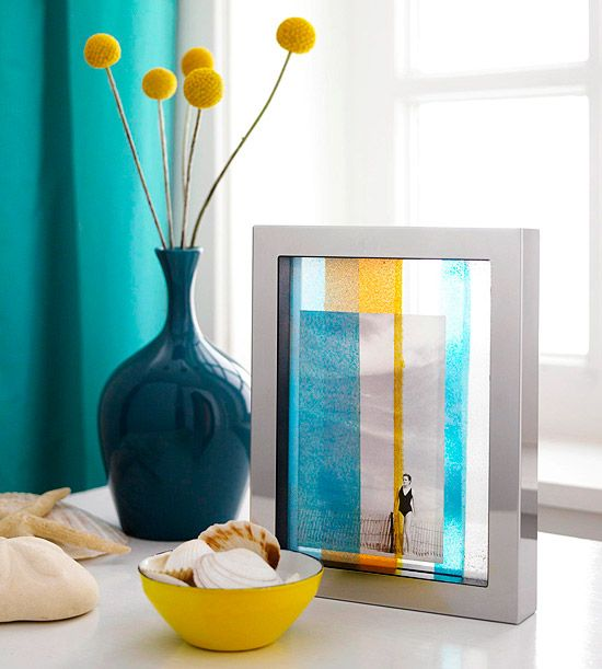 Easy-to-make transparent frame that resembles stained glass. To make, layer colorful painted