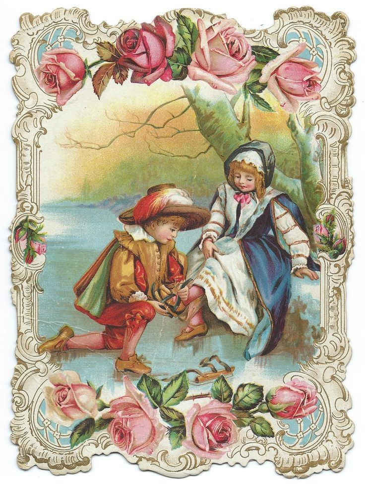 Victorian Card Fancy with Roses Around The Edg Shows A Boy Girl Ice SK Ates | eBay
