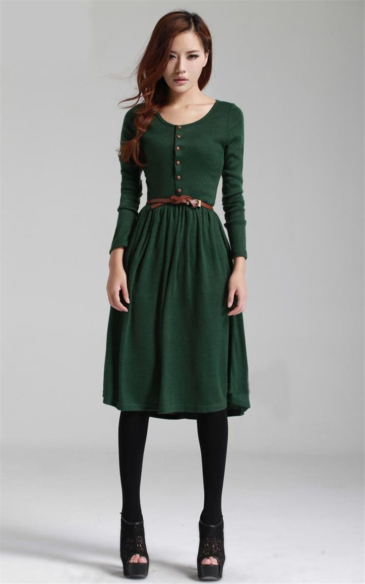 Long Sleeve Retro Midi Length Dress Green Black Dress
