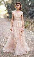 Wholesale Deep V Cap Sleeves Pink Lace Applique Tulle Sheer Wedding Dresses Cheap Vintage A Line Reem Acra Latest Blush Wedding Bridal Dress Gown
