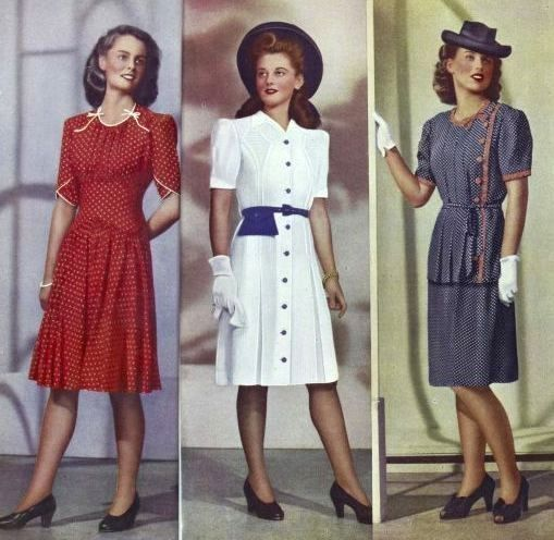 Red, white and blue summer dresses from Kays Catalog Spring/Summer catalog, 1946. #vintage #1940s #fashion