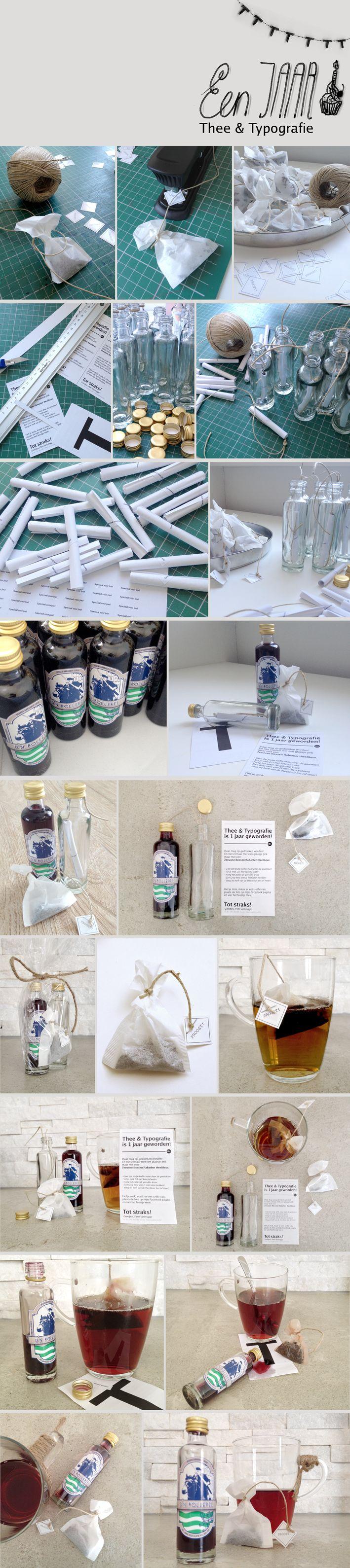 Kado | 1 jarig bestaan van Thee & Typografie  #thee #typografie #design #grafisch #packaging #hot #tea #typographic #print #verpakking #birthday #celebration #one #handmade #handgemaakt