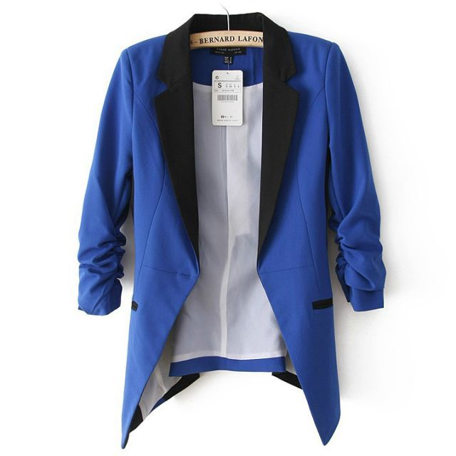 euro incl shipping New Women's Elegant Lapel Stitching Slim Long Sleeve  Suit Blazer Jacket Coat 4 Colors 3 Sizes 18224