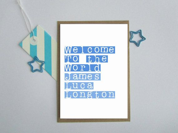 Personalised new baby boy card. Personalized baby boy custom card. Welcome to the world custom name card. New baby boy greetings card.