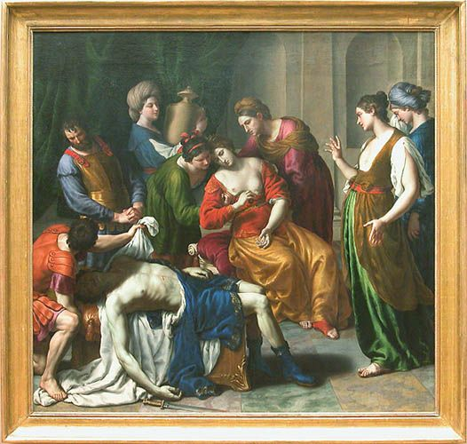 Alessandro TURCHI, La Mort de Cléopâtre, Vers 1640, H. : 2,55 m. ; L. : 2,67 m. Musée du Louvre