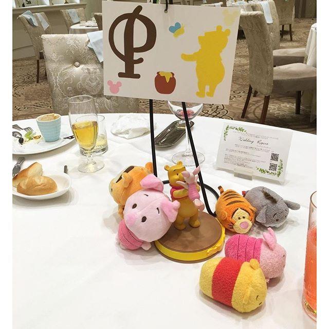 Instagram media junmiya6731 - 各テーブルの小物達✨ Pはプーさん 甥っ子達がいたのでお人形さんを多目にメインでおきました( ´∀`) #結婚式 #テーブル装飾 #テーマディズニー #プーさん