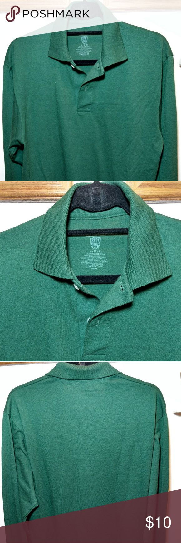 Jerzees hunt green long sleeves polo shirt. Jerzees hunt green long sleeves polo shirt. Easy and comfortable shirt. A few speckles of white lower front right. Barely noticeable. Pictured. Jerzees Shirts Polos