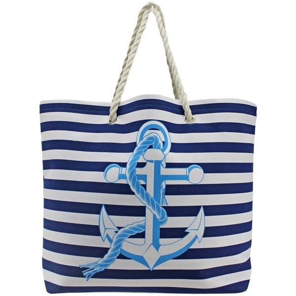Navy Blue & White Stripe Nautical Anchor Oversize Beach Tote Bag (£21) ❤ liked on Polyvore featuring bags, handbags, tote bags, totes, beach, beach bags, bolsas, fashion bags, beach bag and weekend bag