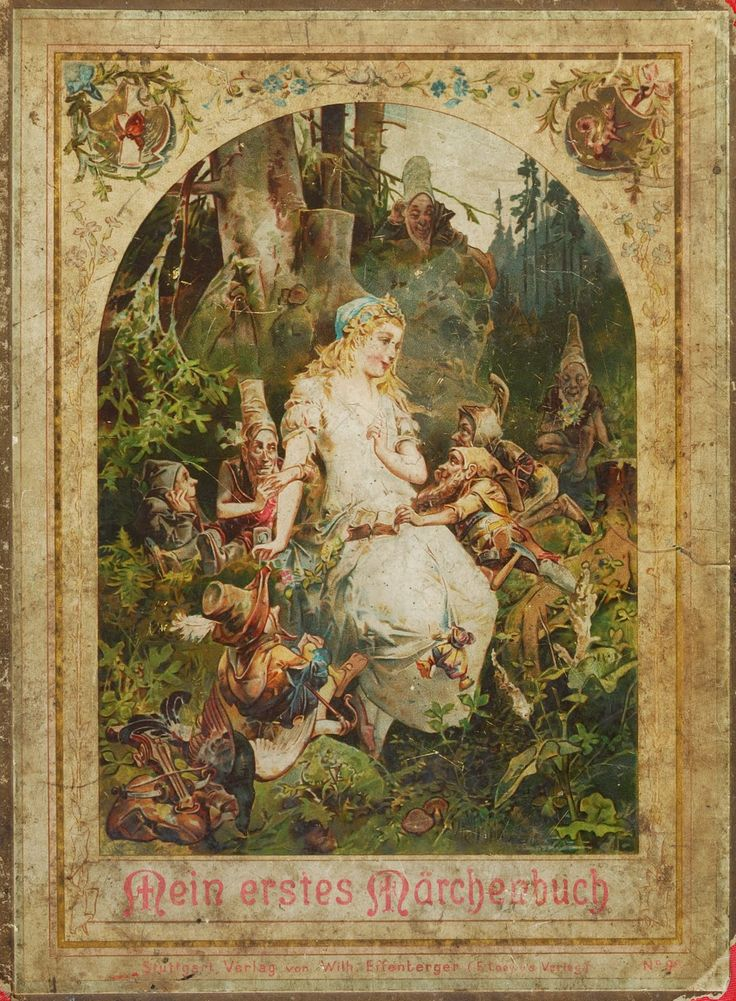 german folk tales | Cover of a German fairy tales book, image of Snow White and the Seven ...