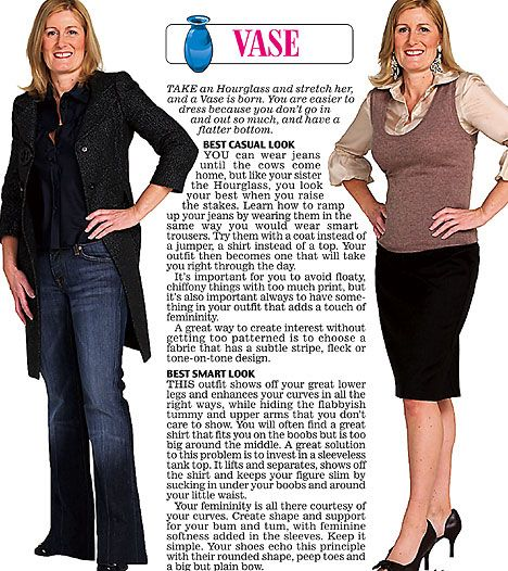 Trinny and Susannah show off the clothes to suit the VASE women's body type.