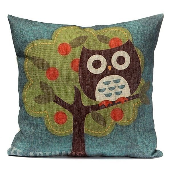 New Owl Print Pillow Case Back Throw Cotton Linen Cover Room Free Shipping #>=#>=#>=#>=#> Click on the pin to check out discount price, color, size, shipping, etc. Save and like it!