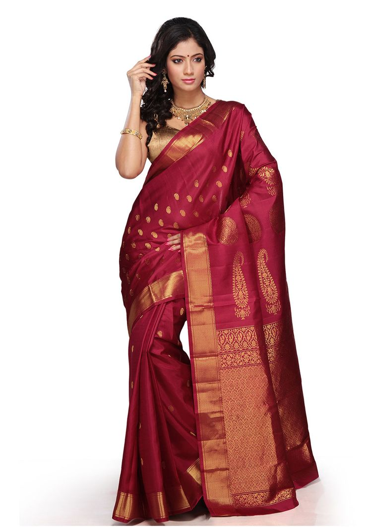 Maroon Pure Kanchipuram Handloom Silk Saree with Blouse: SSY257