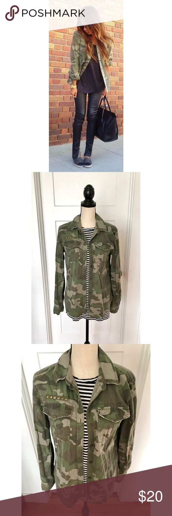 Camo Shirt Button down shirt/jacket in Camo print with stud detailing above front pocket. By Mudd. Mudd Tops Button Down Shirts