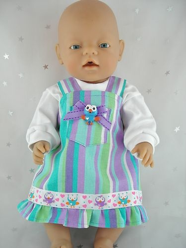 "Dolls Clothes For 17""/43cm Baby Born Doll ' HOOT STRIPED PINAFORE & TOP' 