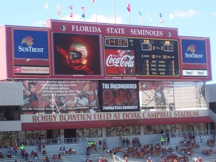 FSU - Florida State University Seminoles closeup of football stadium scoreboard