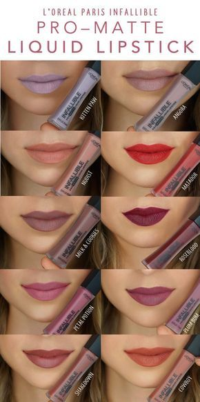 Shades of the new L'Oreal Infallible Pro-Matte Liquid Lipstick. Liquid matte finish with up to 16 hours of wear. Comfortable, lasting ultra-matte color.