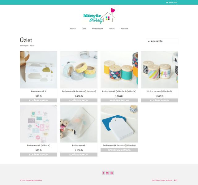 Woocommerce alapú webshop demo