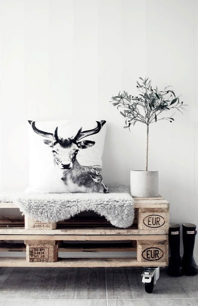 = pallets, fur, cushion and hunter gumboots