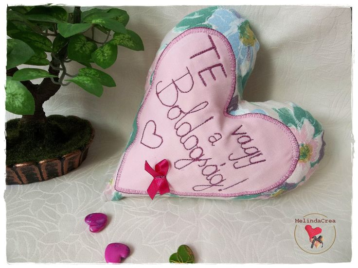 Embroidered fabric heart ~ handmade by MelindaCrea