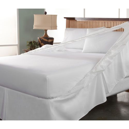 Easy On Easy Off White California King Bedskirt and Box Spring Protector - (In No Image Available)