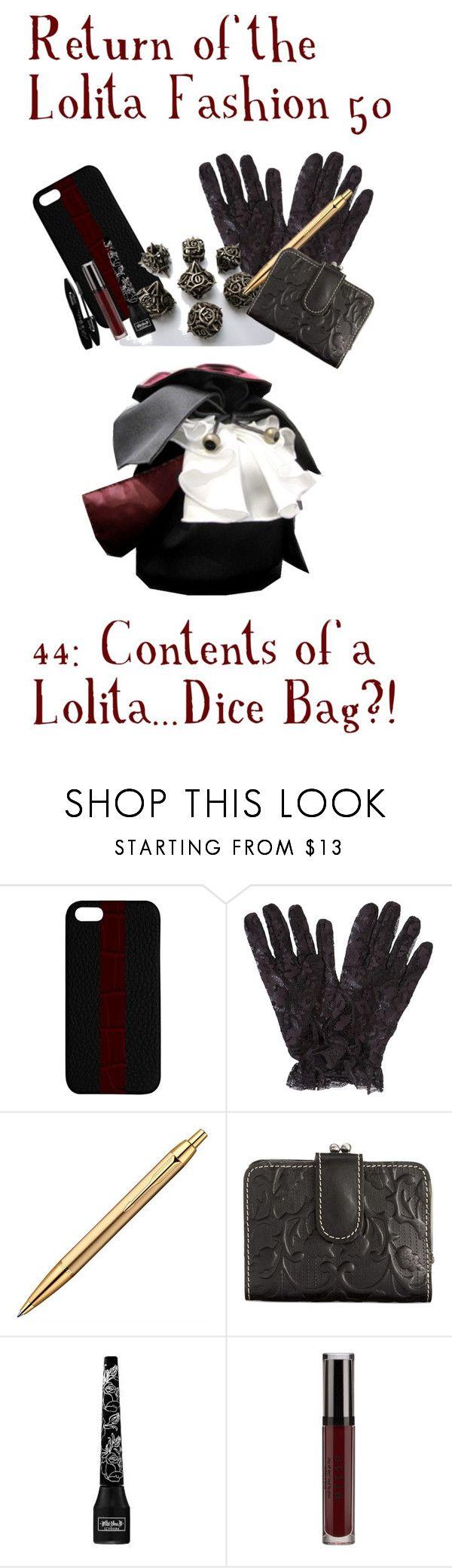 """Return of the Lolita Fashion 50 44: Contents of a Lolita ""Purse"""" by sakuuya ❤ liked on Polyvore featuring Maison Takuya, John Lewis, Patricia Nash, Kat Von D, Stila, Lancôme, gothic, gothiclolita, lolita and atelierboz"