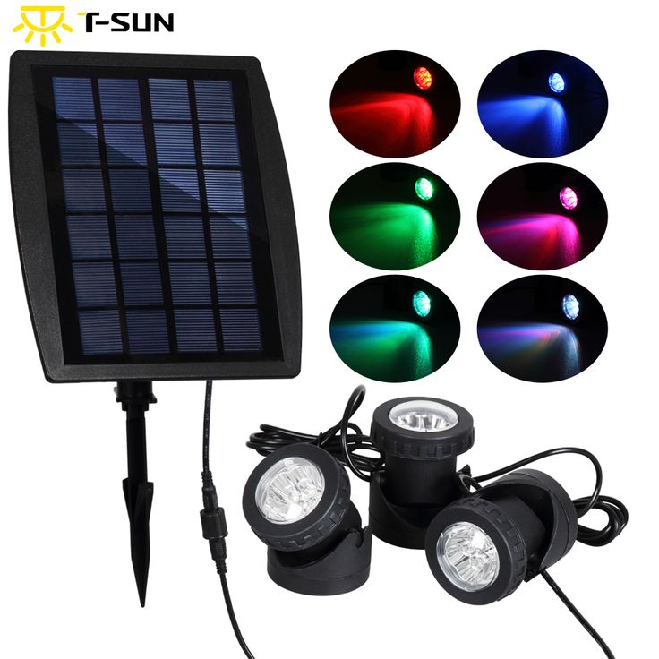 tsunrise 3pcs solar powered spotlight led light rgb color changing outdoor lighting led landscape