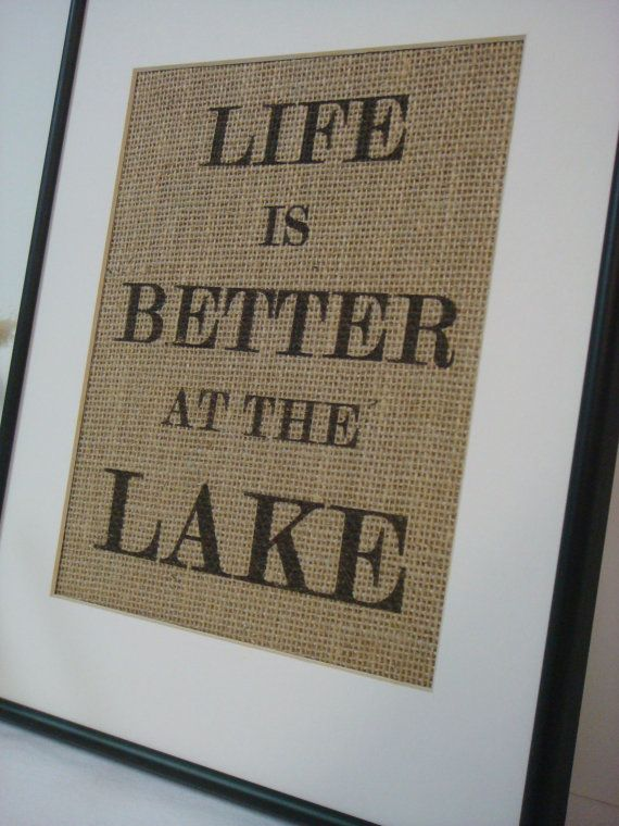 Lake House Sign On Natural Burlap Cottage Beach Home Decor 1600