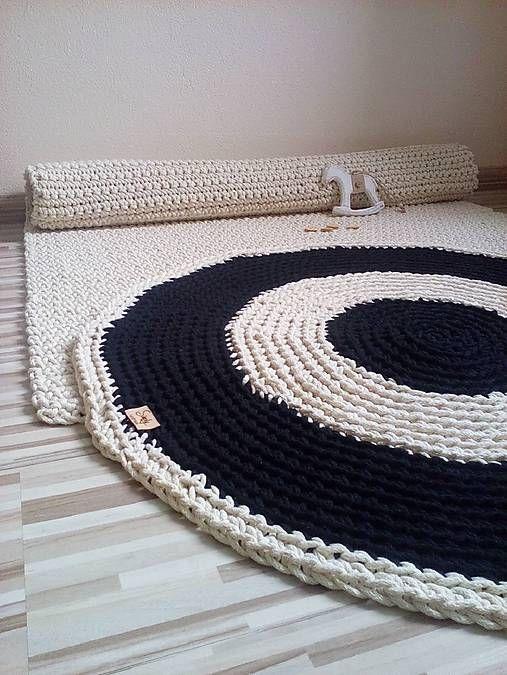 Okrúhly bavlnený koberec - dvojfarebný