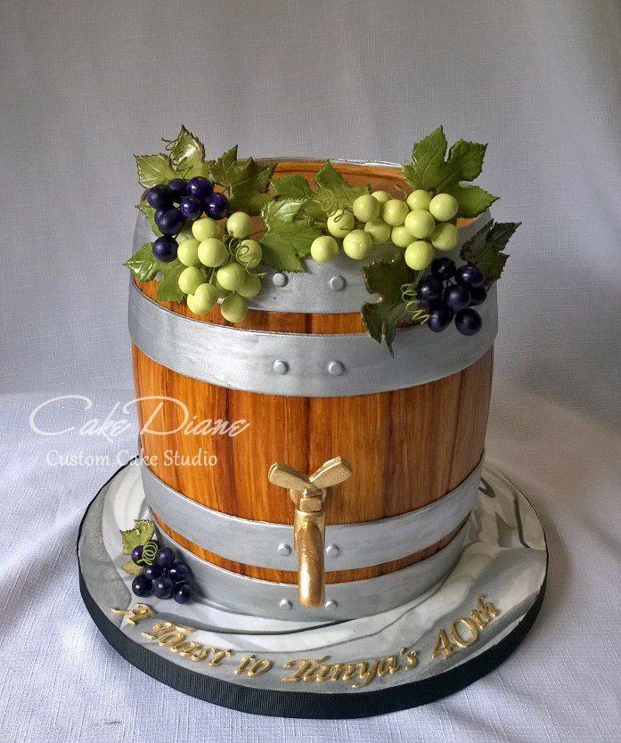 Wine Barrel Cake by Cake Diane Custom Cake Studio