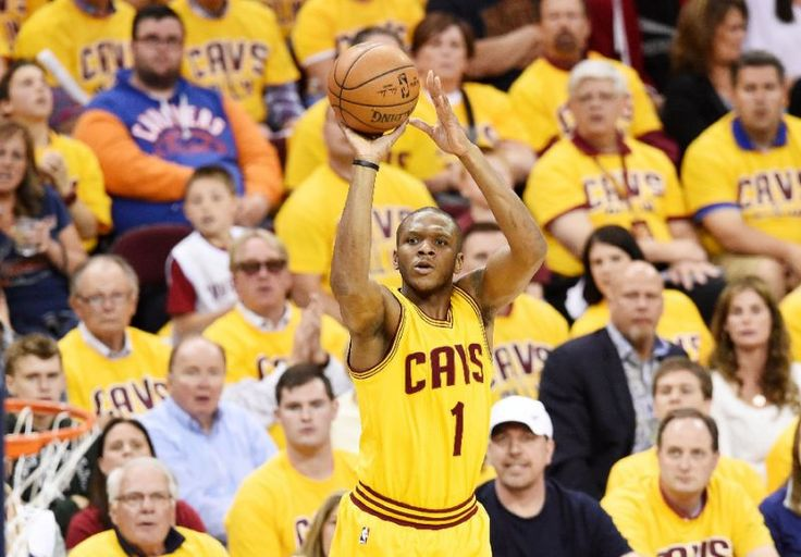 James Jones of the Cleveland Cavaliers shoots against the Atlanta Hawks in the first half during Game Three of the Eastern Conference Finals of the 2015 NBA Playoffs at Quicken Loans Arena on May 24, 2015 in Cleveland, Ohio