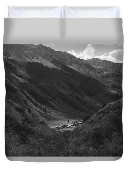 Hugged By The Mountains Duvet Cover by Cesare Bargiggia