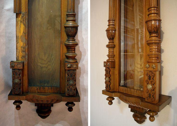 Jesionowy eklektyczny zegar. Detal przed i po renowacji w pracowni Alter Novum w Krakowie. /// Old clock restored by https://www.alternovum.com/