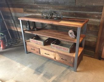 Reclaimed Wood Industrial Media Console di wwmake su Etsy
