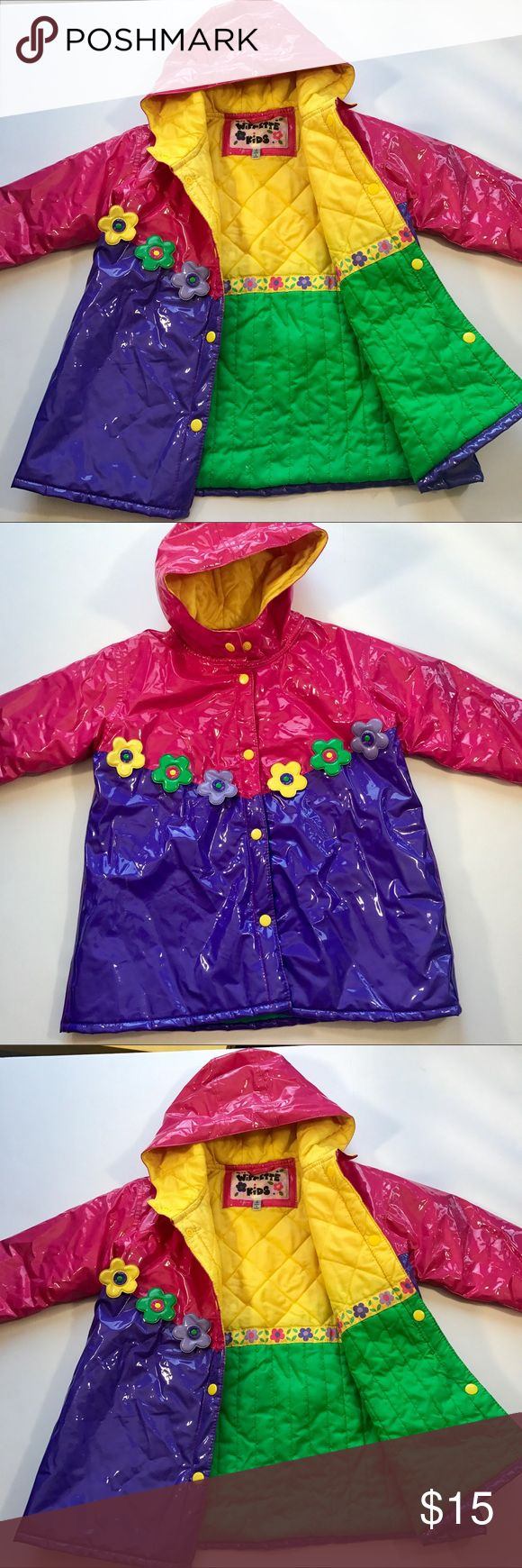 ‼️WIPPETTE KIDS RAIN JACKET‼️ Wipette Kids Rain Jacket  Super cute!  I was drawn to this at a boutique store in Portland Or. It's so vibrant and lovely for a rainy day. Very cheery!  Purple and pink w flowers. Has a good. It's a rain jacket...and is puffy and kinda shiny. The lining inside is just adorable.  Yellow and bright green w Floral trim! Really unique piece.  You little one will love it!  Size is kids Small or 4T  Length is 21' Pit to pit is just about 18' Thank you WIPPETTE KIDS…