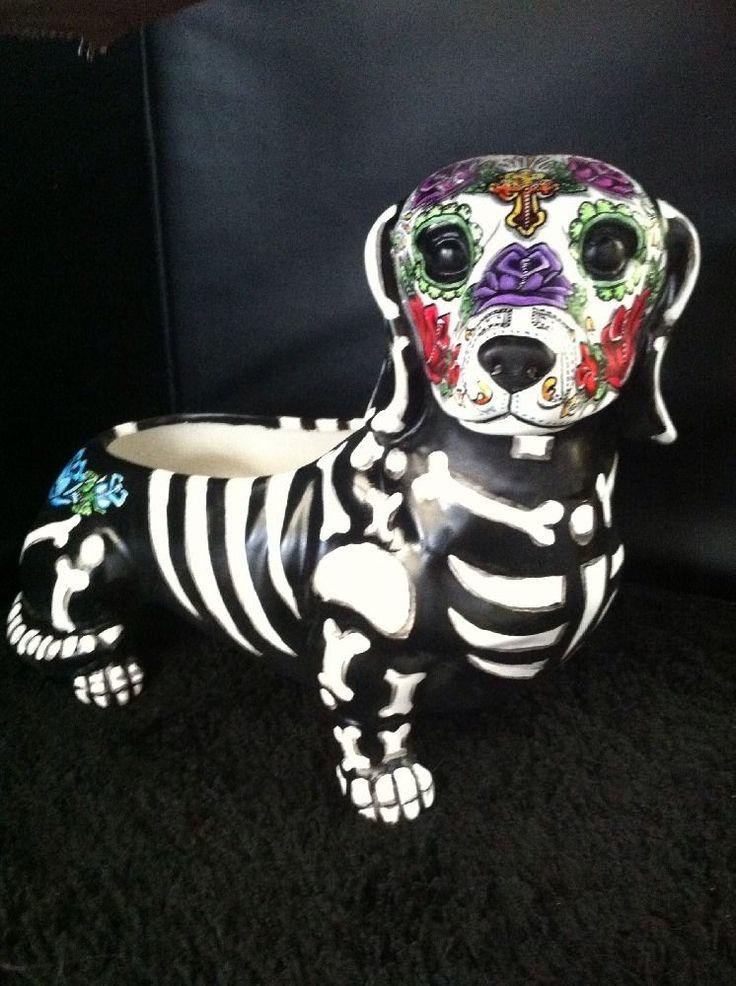 Sugar Skull Day Of The Dead Dotson Dachshund Weiner Dog Figurine Art Planter