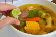This tastes just like my favorite Mexican restaurant!! This is perfect for cool fall nights! || Caldo de Res: Spanish Beef Soup recipe from Calling All Cooks via Food Network