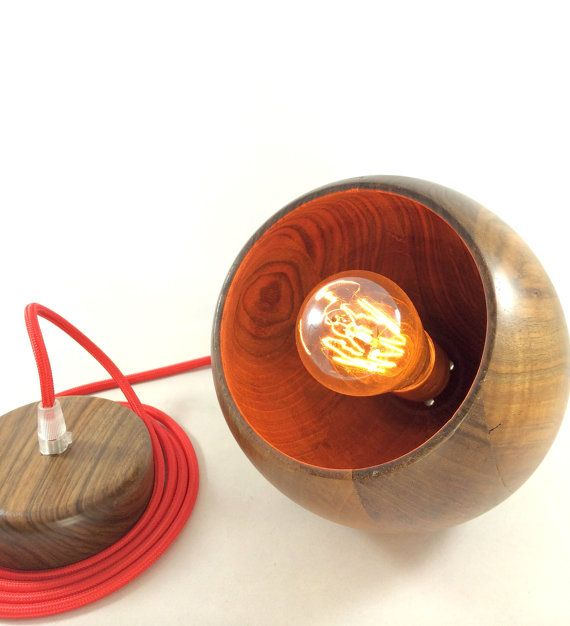 Handcrafted Walnut Hanging Globe Lamp/ Walnut Pendant by Lambater