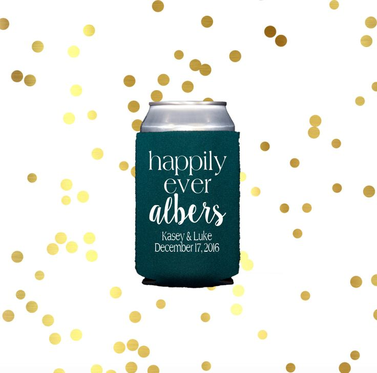 Happily ever after can cooler, wedding reception drink sleeve, reception hugger, reception favor, cocktail hour, rehearsal dinner cooler by SequinsAndLipstick on Etsy