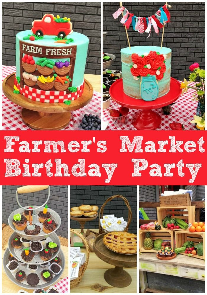 Farmer's Market Party. A party full of fun decorations, sweet tables, party ideas, pies, cakes, dessert table, and party ideas!