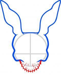 how to draw frank the rabbit, donnie darko step 3