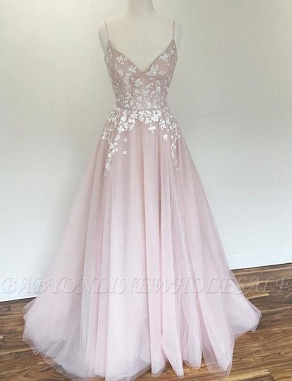 cb4a3a195b Charming A-Line Appliques Spaghetti Straps Floor-Length Prom Dress ...