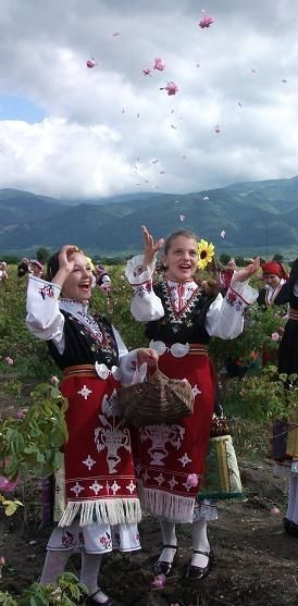 Europe | Portrait of two girls wearing traditional clothes, Rose Festival, Kazanlak, Bulgaria #embroidery