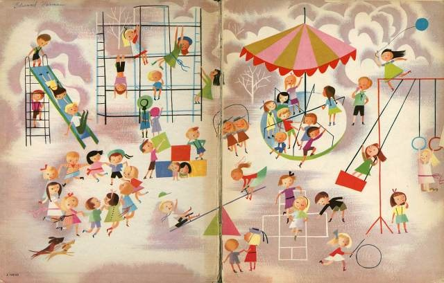 playground--Vintage Illustration By Disney Artist Mary Blair