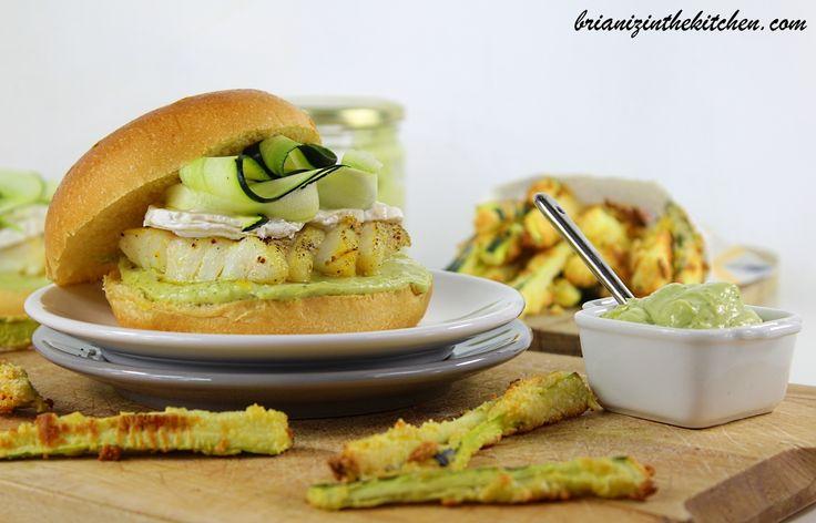 Burger Cabillaud, Mayonnaise à l'Avocat, Courgettes & Chèvre
