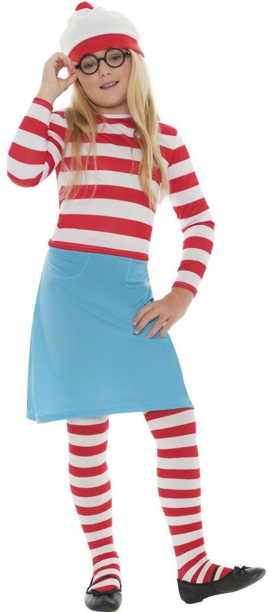 Waar is wally™-kostuum voor meisjes: Dit Waar is wally™-kostuum voor meisjes bestaat uit een topje, een rok, een panty, een muts en een bril. Het wit-rood gestreepte bovenstuk met lange mouwen past bij de panty. De blauwe rok...